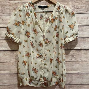 Forever 21 floral sheer button down blouse
